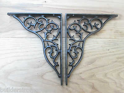 "PAIR OF SMALL THORN 10 X 8"" Rustic vintage cast iron shelf support brackets"