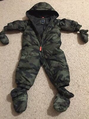 Baby Gap Snowsuit boys 18-24 months down filled feather.  All in one camouflage