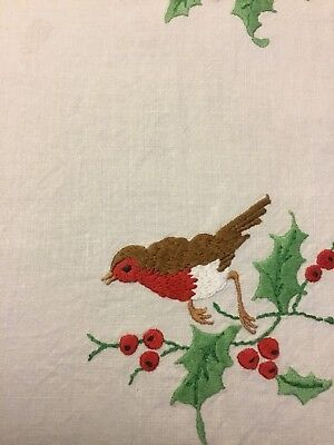 Vintage Hand Embroidered Irish Linen Tray Cloth - Robins On Holly Branches,
