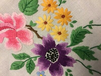 Vintage Irish Linen Hand Embroidered Tablecloth - Gorgeous Raised Needlework