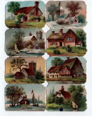 Victorian Die Cut Relief Scrap Sheet. 8 Houses & Churches.
