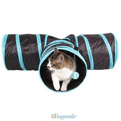 Chat Jouet Tunnel Pliable Animal Chaton Lapin Drôle Jouer 3 Voies Tunnel Jouets