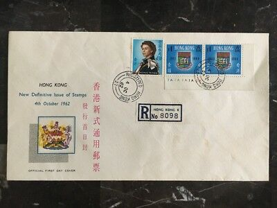 1962 Hong Kong First Day Registered Cover FDC Definitive Issue Of Stamps