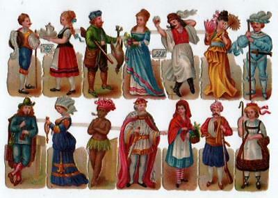 Victorian Die Cut Relief Scrap Sheet. Costumed People Pub'd Priester & Eyck #238