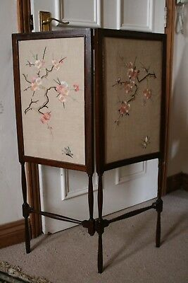 Lovely Little Vintage Wooden Screen with Embroidered Panels