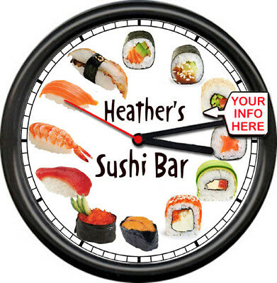 Personalized Sushi Lover Bar Sashimi Japanese Cafe Asian Cuisine Sign Wall Clock