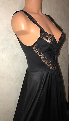 "OLGA 80s VTG LONG GRACEFUL HUGE 168"" SWEEP NIGHTGOWN GOWN BLACK LACE"