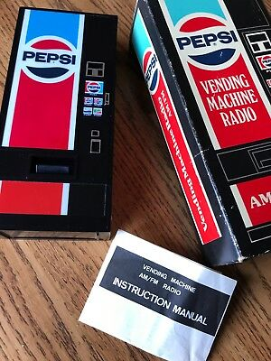 Vintage Collectible 1980's Pepsi Vending Machine AM/FM Transistor Radio - Works!