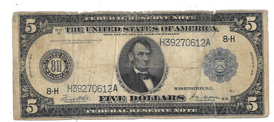 1914 $5 Large Federal Reserve Bank Of St. Louis Missouri
