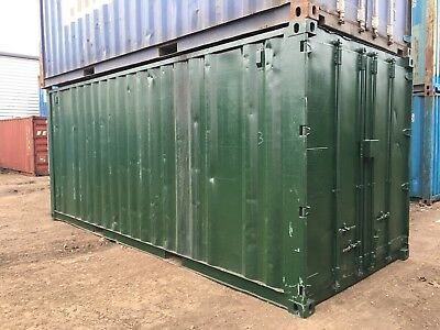 20x8' Ex Shipping Storage Container Painted Green Lock Box Shed Builder Store