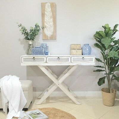 White Console Hall Table with Drawers/Hampton's/French Provincial Style