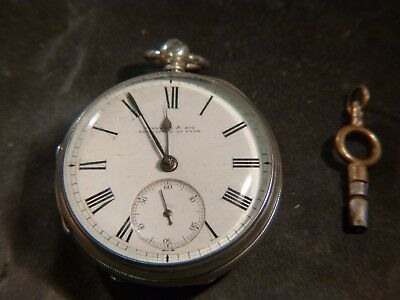 Solid Silver Pocket Watch H/m London 1880 Made By Turnbul & Sons, Newcastle