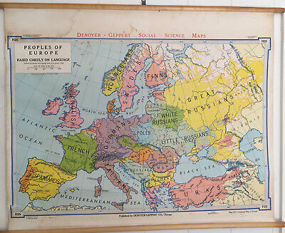 "Denoyer-Geppert ""Peoples of Europe"" 1967 School Map Great Colors"
