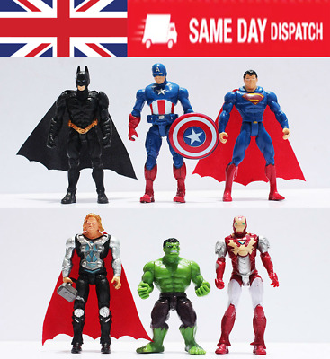 Marvel Avengers Super Hero DC Incredible Hulk Action Figure Toy cake topper 6PCS
