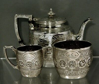 "Scottish Sterling Silver Tea Set         ZODIAC DESIGN      ""WILSON FAMILY"""