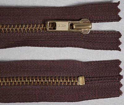"8"" 20cm brown YKK No.5 heavy duty gold metal CLOSED END ended auto lock zips"