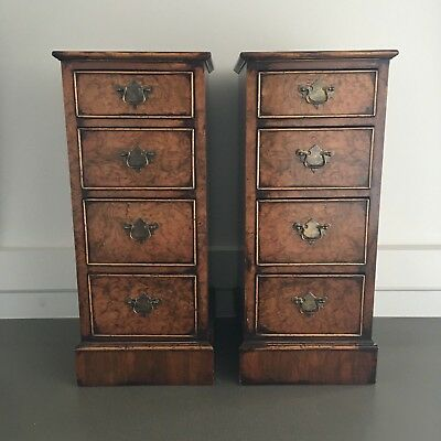Rare Pair Of Walnut Bedside Chests Of Drawers