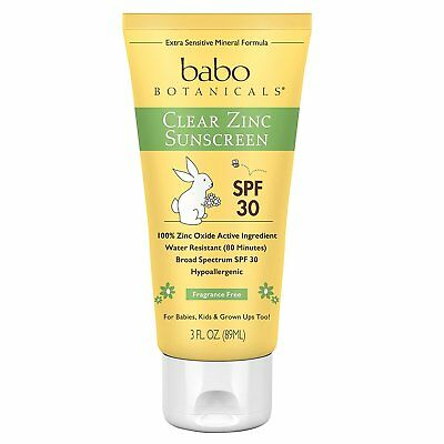 Babo Botanicals SPF 30 Clear Zinc Lotion, Fragrance Free sunscreen , 3 Ounce