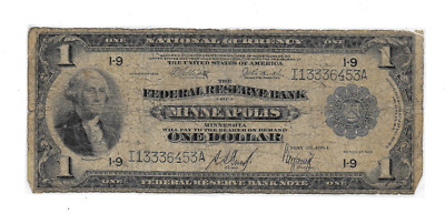 1918 $1 Large Federal Reserve Bank Of Minneapolis Minnesota Flying Eagle