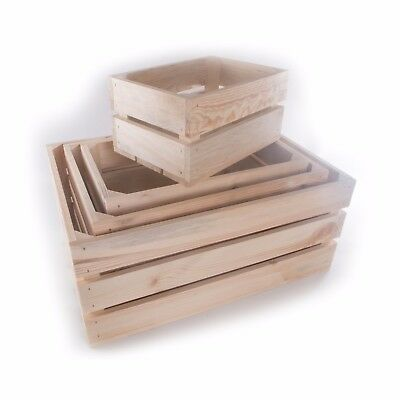 Solid Wooden Fruit Apple Crates Containers in 4 Sizes / Strong Storage Boxes