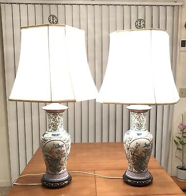 Vintage Pair Of Beautifully Hand-painted Chinese Porcelain Lamps