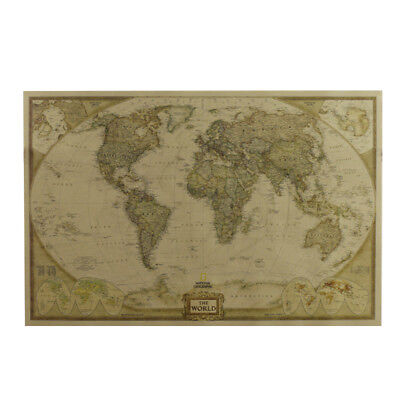 World Map Antique Poster Wall Chart Retro Vintage Kraft Paper Home Decoration US