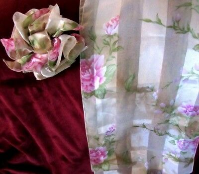 "Xmas Gift! Luxurious Silk/Nylon Beige/Pink Rose Scarf 58"" x 13"" & Bow Hair Clip"