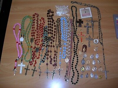 Rosaries Religious Crucifix Lot Christianity 39 pc