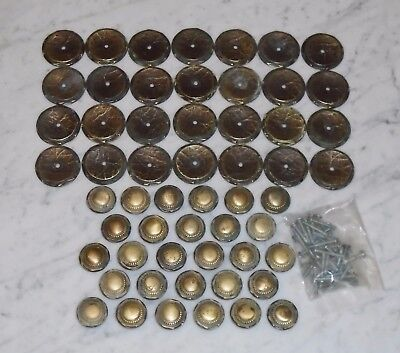 Set of 28 Vintage Amerock Carriage House Brass Drawer Pull Knobs &Backplates Set