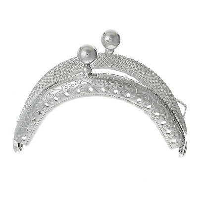 5PCs Metal Frame Kiss Clasp Arch For Purse Bag Silver Tone 6.8cm x 5.2cm