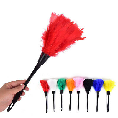 Home Office Keyboard Clean Anti Static Turkey Feather Duster Cleaner Brush Z