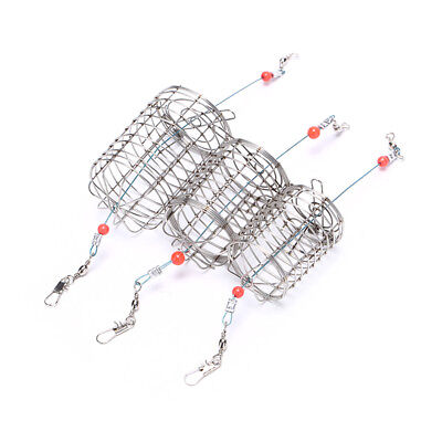 2x straight cylinder type stainless steel wire fishing lure cage bait cage trapZ