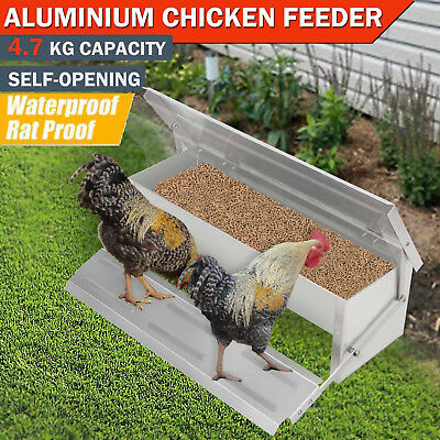 4.7kg Automatic Aluminum Chicken Feeder Treadle Chook Poultry Self Opening AU
