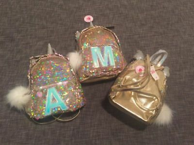 NWT Justice girls gold sequin UNICORN Mini Backpack Initial A M R Great Gift!