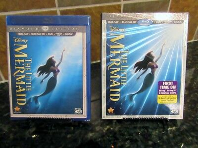 The Little Mermaid (Blu-ray 2D,3D/DVD,Digital 2013,3-Disc Set,Diamond Ed) NEW