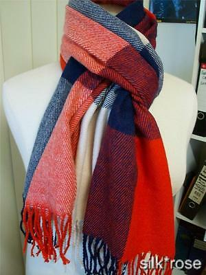 New in bag lovely large warm winter checked scarf - Orange red, navy, cream