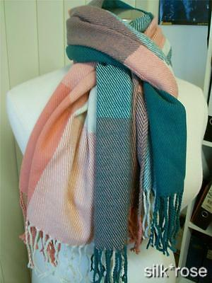 New in bag lovely large warm winter checked scarf - Peach and green