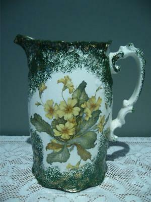 Antique Grimwades Large Hot Water Jug - Primroses - Sponged Decoration - Rc