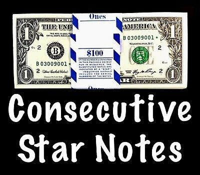 2006 New York 1$ Consecutive Star Notes From BEP Strap Replacement Notes UNC B4