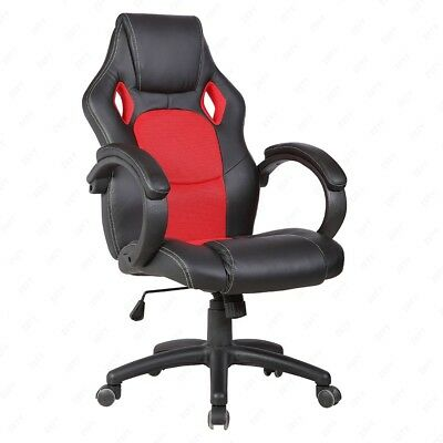 Sports Racing Gaming Chair Executive Computer Lift Recliner PU Leather Red