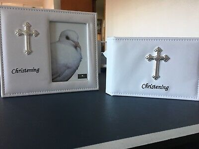 "Christening Day White Vinyl Photo Frame 4x6"" And Photo Album (holds 26 Photos)."