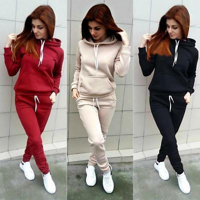 Womens 2pcs Tracksuit Hoodies Sweatshirt Ladies Jogging Lounge Wear Sport Suit