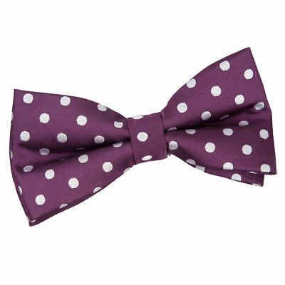 DQT Woven Polka Dot Purple Formal Casual Classic Mens Pre-Tied Bow Tie