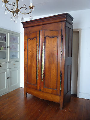 19th Century Antique Knockdown French Cherrywood Armoire Wardrobe Cupboard