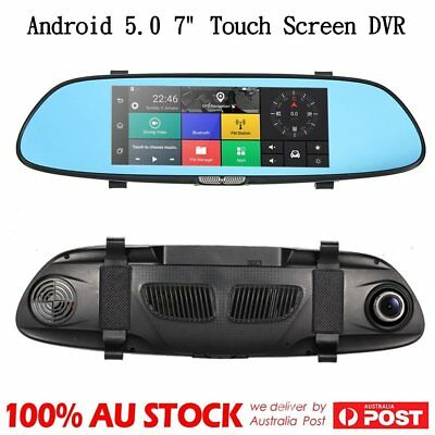 "7"" Inch 1080P Dual Lens Car Reverse Rearview Mirror DVR Camera Recorder Monitor"