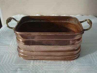 FRENCH COPPER PLANTER WITH BRASS HANDLES SIZE:-Height10cm.Width13cm. Length19cm.