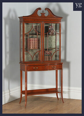 Antique Georgian Style Inlaid Satinwood Mahogany Display Cabinet Edwards Roberts