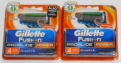 2 Packs X Gillette Fusion Proglides Power Of 4 Cartridges ( 8 Shaving Blades)