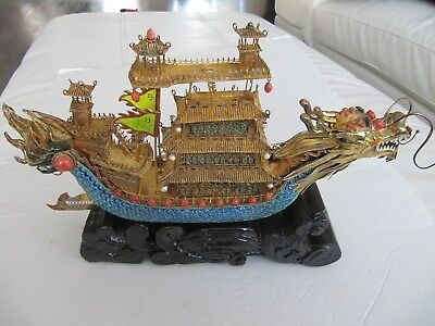 "Antique Chinese Export 925 Silver Gilt Filigree And Enamel Ship Unique 14.5""long"