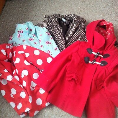 Girls Coats Age 2 - 3 Years Blue Bundle Of 4 -  Red, Red Spot, Tweed And Floral